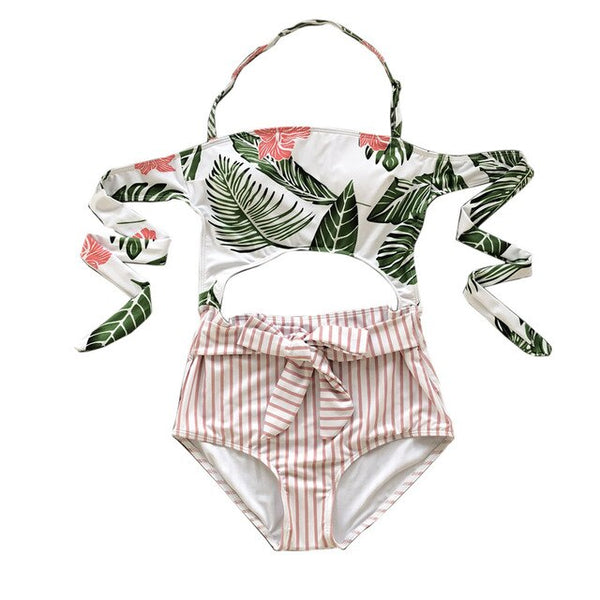 YCDYZ One Piece Swimsuit Female 2019 Sexy Tropical Leaf Print Hollow-out Swimwear Women Halter Monokini Swimming Suit For Women