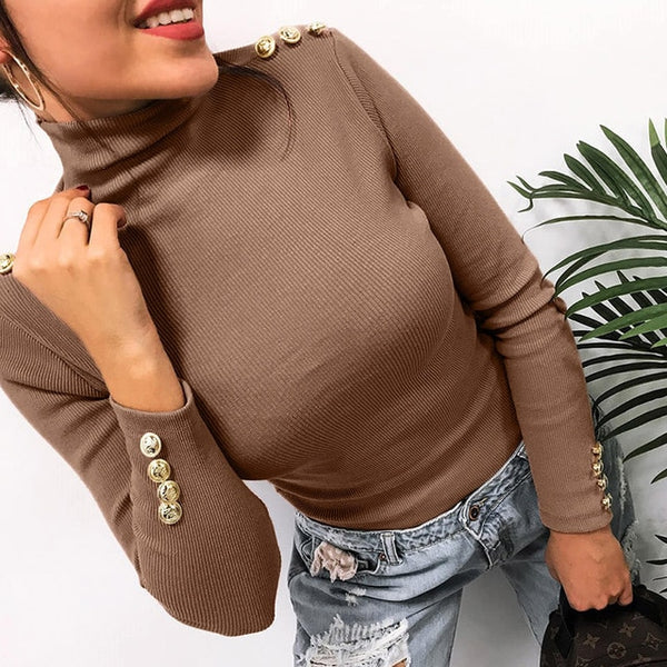 Women Turtleneck Button Sleeve Knitted Sweaters Solid Pullovers Causal Thin Office Lady Sweaters Knitting Female Knit Tops M0381
