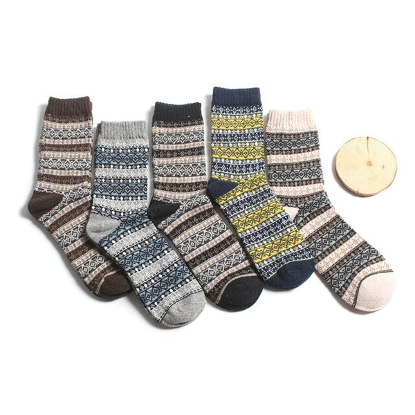 5 Pair  Warm Women Socks Striped Socks Autumn Winter Style Christmas Winter Socks For Woman Female Funny Sock Calcetines Meias