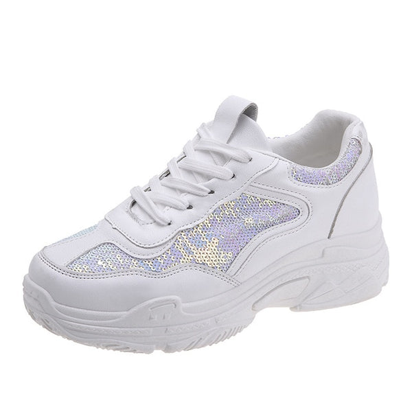 Rimocy Women Platform White Shoes Fashion Sequins Bling Woman Sneakers Trainers Classic Comfy Zapatillas Mujer Casual Footwear
