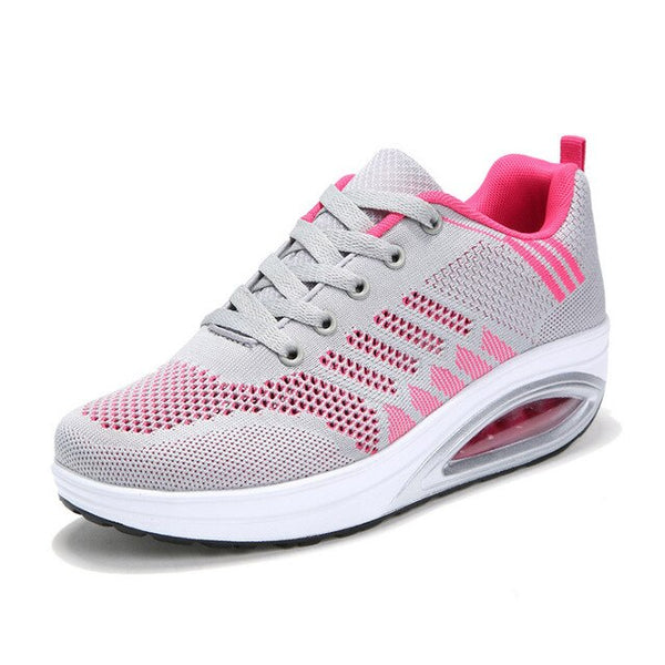 New Designer Sneakers Women Platform Wedges Casual Shoes Lightweight Walking Shoes Lace Up Shoes Mesh Vulcanized Shoes Footwear