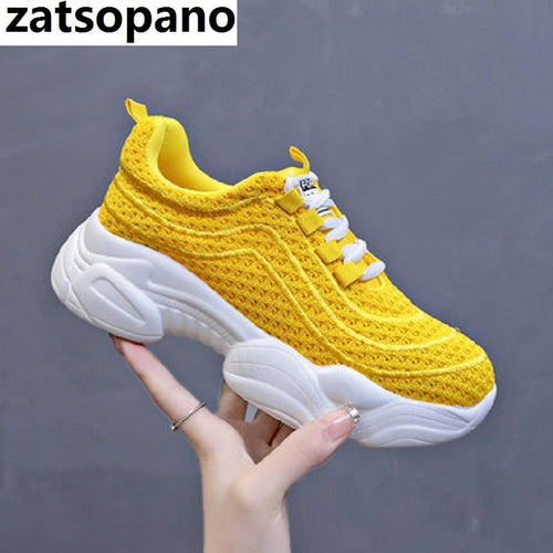 2019 Breathable Mesh Women Casual Shoes Vulcanize Female Fashion Sneakers Lace Up Soft High Leisure Footwears Size 35-40