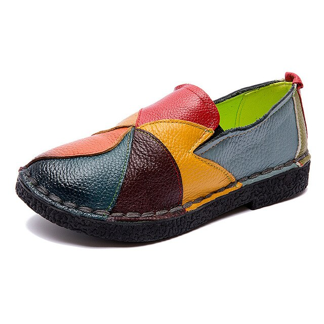 Handmade Leather Soft Shoes National Leather Flats Shoes For Women Casual Female Flats Lady flowerRound Toe Shoes footwear