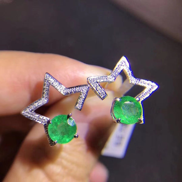 Naural emerald stud earring 925 sterling silver Free shipping For men or women  Star style