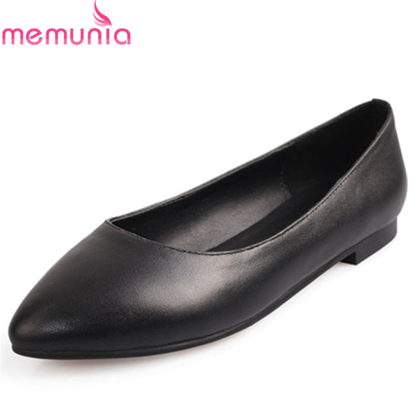 MEMUNIA 2019 spring summer single shoes women genuine leather flat shoes solid colors slip on dress shoes lady office footwear