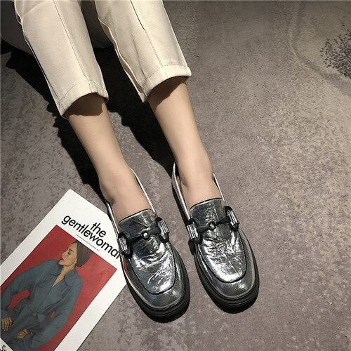 Autumn Flats Women Shoes Leopard Loafers Patent Leather Elegant Low Heels Slip On Footwear Female Round Toe Thick Heel