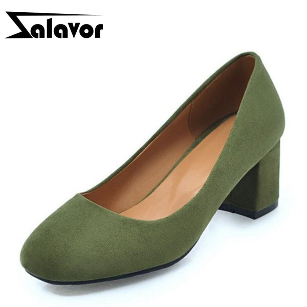 ZALAVOR Girl's Pumps Women Shoes Slip On Flocking Leather Square Toe Daily Shoes Party Dancing Cute Color Footwear Size 32-45