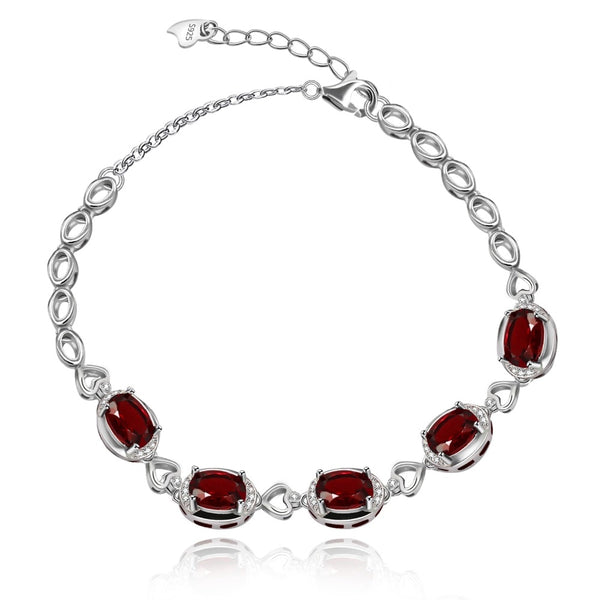 Almei 925 Sterling Silver Chain Bracelet with 5 Oval Natural Red Garnet January Birthstone Adjustable Bracelets Gifts