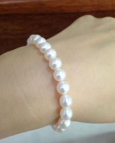 "FREE SHIPPING HOT sell new Style >>>> huge 12-13MM natural south sea genuine white Round pearl bracelet 7.5-8"" AAA 088"