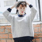 Contrast Sleeve Round Neck Sweater Female Korean Punk Harajuku Women's Sweaters Japanese Kawaii Ulzzang Cute Clothing For Women