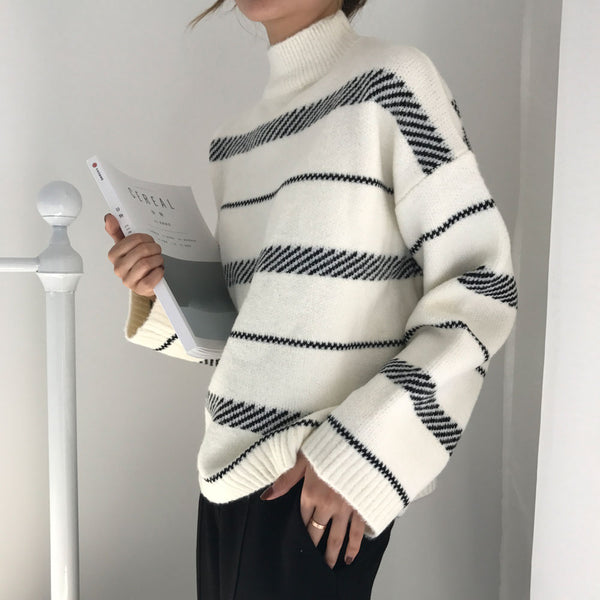 Women's Sweater 2019 Chic Vintage Striped Sweater Trend Loose Street Style Lazy Literary Temperament Female Fresh Unique Women