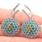 38x24mm Multi Color Tourmaline Citrine Peridot Aquamarine Violet Tanzanite CZ Silver Earrings