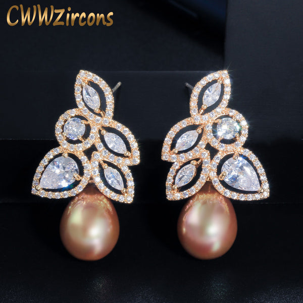 CWWZircons Sparkling Flower Leaf Cubic Zirconia Yellow Gold Color Dangle Drop Big Pearl Wedding Party Earrings for Women CZ590