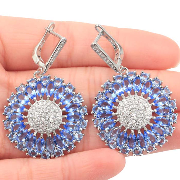 42x24mm Beautiful Rich Blue Violet Tanzanite CZ Woman's Gift Silver Earrings