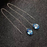 Natural Crystal Blue Gemstone Natural Topaz Earrings Brand Women Earrings Fashion Gift For Friend