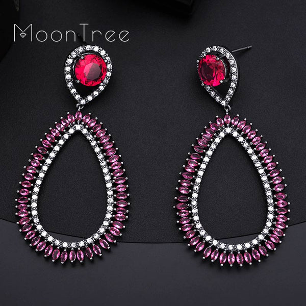 MoonTree Brand New Fashion Luxury Water Drop Full Pave Cubic Zirconia Bridal Wedding Earring For Women