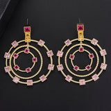 48*60mm Luxury Geometric Circle Hollow Long Dangle Earrings For Engagement Full Cubic Zirconia Inlaid Dangle Drop Earrings
