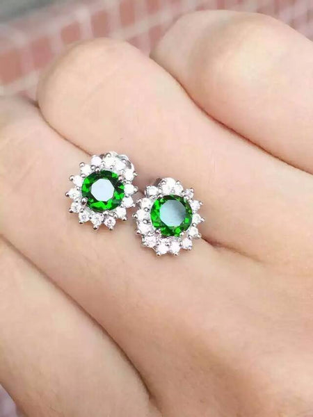 natural diopside stud earrings 925 sterling silver natural green gemstone earrings women Classic round earrings for anniversary