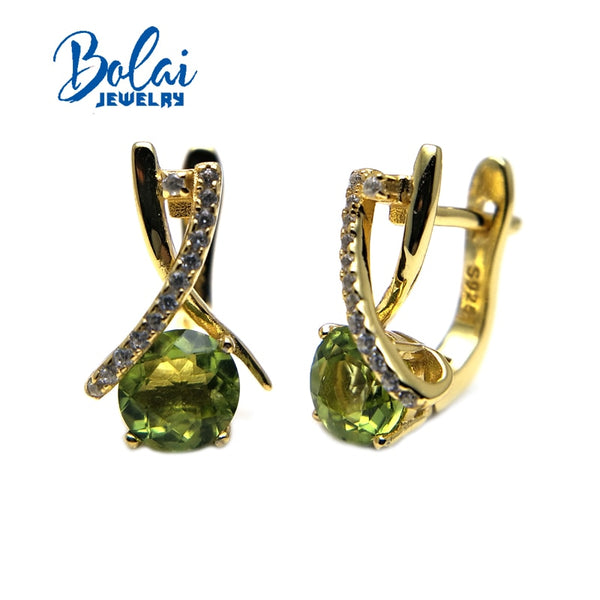 Bolaijewelry, 100% Natural peridot gemstone clasp earrings 925 yellow color sterling fine jewelry for girl party wear best gift