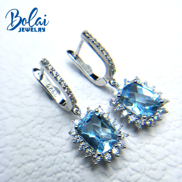 Bolaijewelry,natural checkerboard cutting Blue topaz dangle clasp earring 925 sterling silver fine jewelry for women nice gift