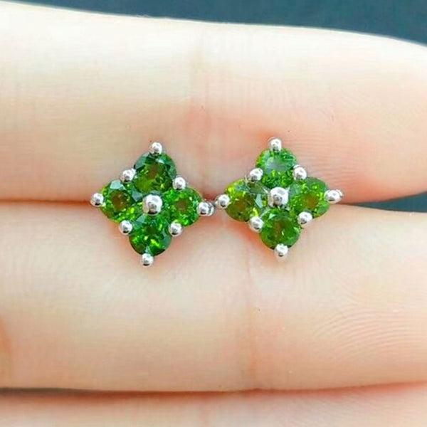 RADHORS  Earring Genuine 925 Sterling Silver inlay Natural Green Diopside Stud Earring for Women Classic Style Fine Jewelry