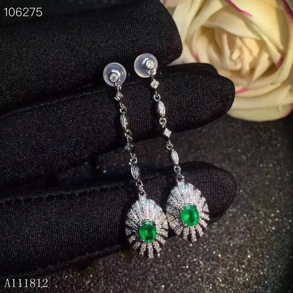 KJJEAXCMY fine jewelry Supporting detection of 925 pure silver inlaid natural emerald female eardrop