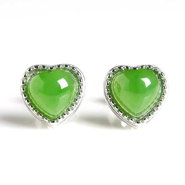 2019 new original 925 silver inlaid natural spinach green jasper heart-shaped egg face earrings women with certificate