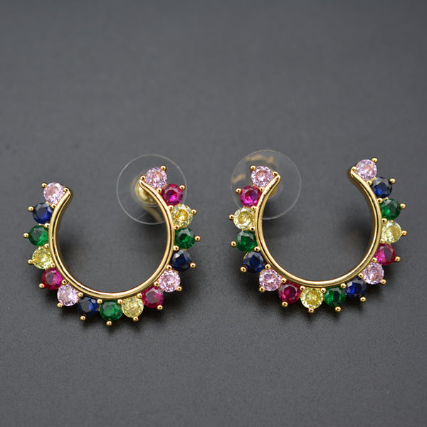 Colorful zircon gold quality copper ear stud is a favorite of European and American women