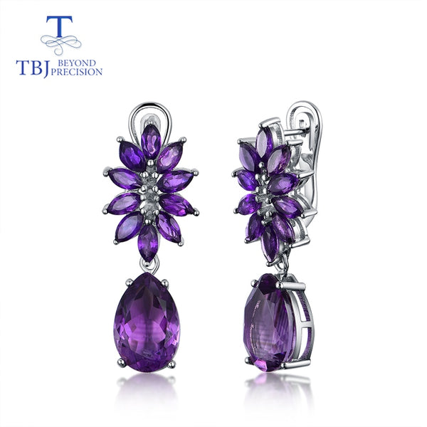 TBJ,925 sterling silver with Natural amethyst gemstone flower style fashion earrings Wedding jewelry girl and lady exclusive