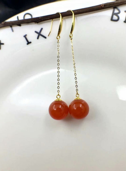 shilovem 18K yellow Gold real Natural south Red agate stud earrings fine Jewelry wedding new plant Christmas gift yze9.59.5nh