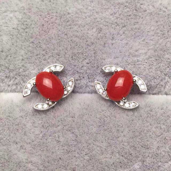 Natural red coral earrings 925 silver Natural gemstone earring women Classic elegant letter fashion fine Earrings jewelry