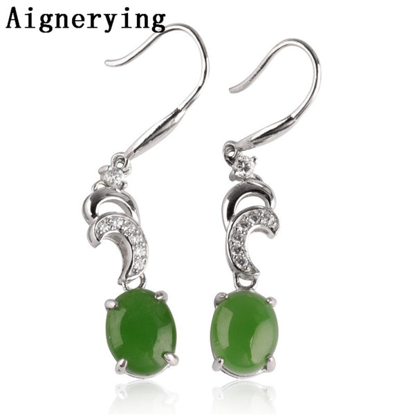 Vintage 925 sterling Silver Moon Hollow Supply Earings Natural Green Jade Fine Jewelry trend Cute Women Gift Tray with Box