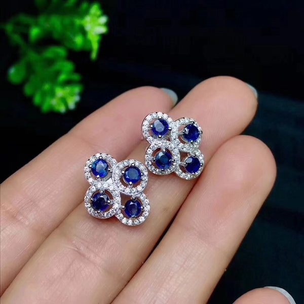 Sapphire stud earring Free shipping Natural real sapphire 925 sterling silver Fine jewelry 3mm 8pcs