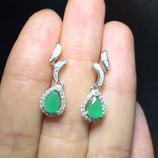 2017 Sale Qi Xuan_Fashion Jewelry_Colombia Green Stone Elegant Earrings_S925 Solid Silver Green Earrings_Factory Directly Sales