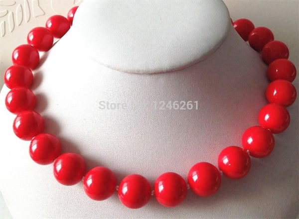 Seductive 14mm Red Sea Shells Pearl Round Necklace Hand Made Rope Chain Beads Jewelry Natural Stone Christmas gifts (Min Order1)