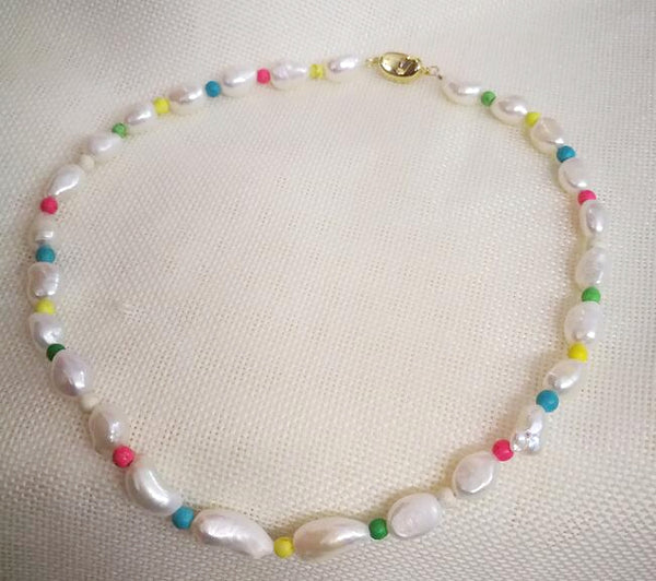 4mm colorful beads 10mm 11mm 13mm white baroque freshwater pearl mixed Necklace 925 gold clasp Woman Jewelry irregular pearl