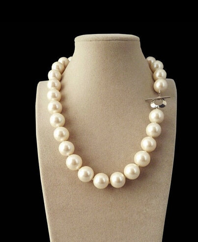 FREE SHIPPING>>>@@ AS3442 Genuine Natural 12mm White South Sea Shell Pearl Round Gems Beads Necklace 18''