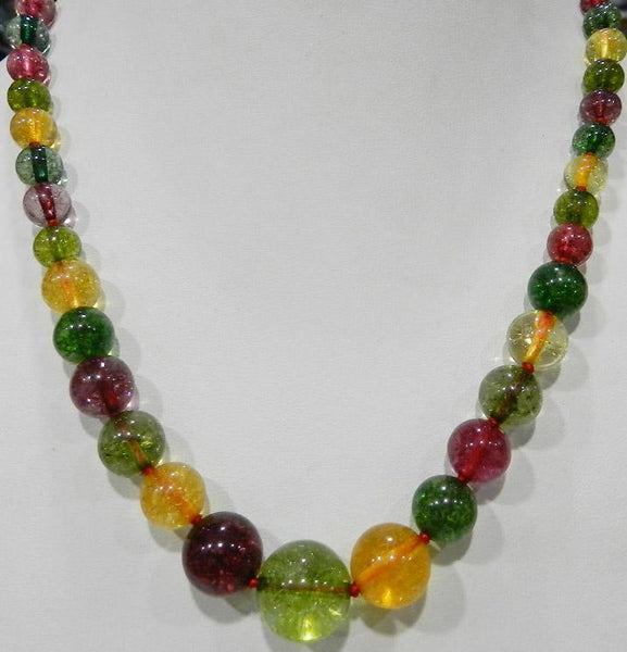 "FREE SHIPPING>>>@@ 6-12mm Multicolor Tourmaline Round Beads Necklace 18"" WW"