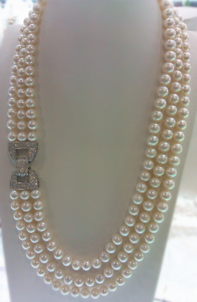 "925 silver 3rows natural AA 7-8mm white natural Genuine freshwater pearl necklace longer 24-26"" Women Gift word Love wholesale"