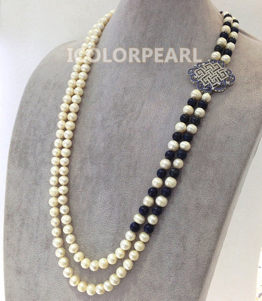 WEICOLOR 70-75cm Two-Strand White Natural Freshwater Pearl ,Nice Chinese Knot Crystal Jewelry Sweater Necklace.