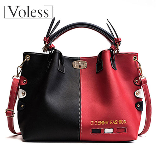 VOLESS 2018 New Fashion PU Leather Shoulder Shopping Bag Luxury Handbags Women Bags Designer Large Capacity Female Tote Bags