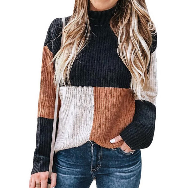 Oeak 2019 Women Knitted Plaid Colorblock Sweater Autumn Fashion Turtleneck Long Sleeve Pullovers Female Casual Streetwear Newest