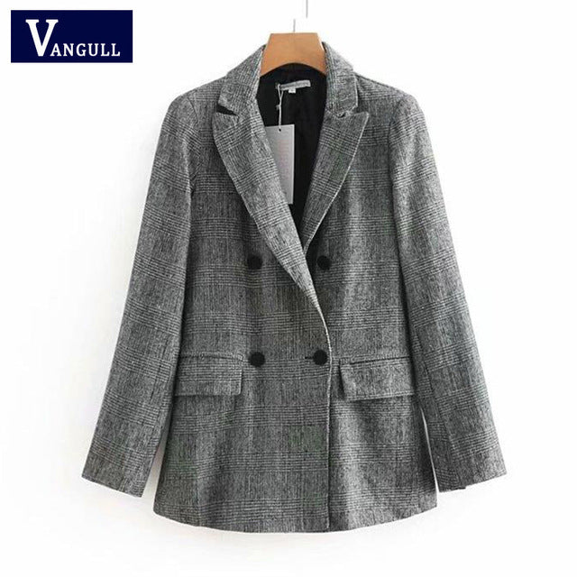 Women Elegant Plaid Woolen Slim Jacket Coats Turn-Down Collar Suit Jackets Acrylic Autumn Spring Outerwear mujer VANGULL 2018