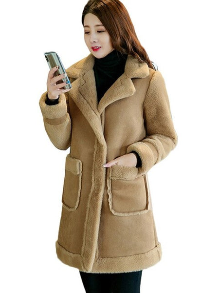 Large Size Loose Long Suede Jacket Female Outerwear Winter Jacket Women Lamb Fur Coat Thickening Warm Cotton Jacket HK122