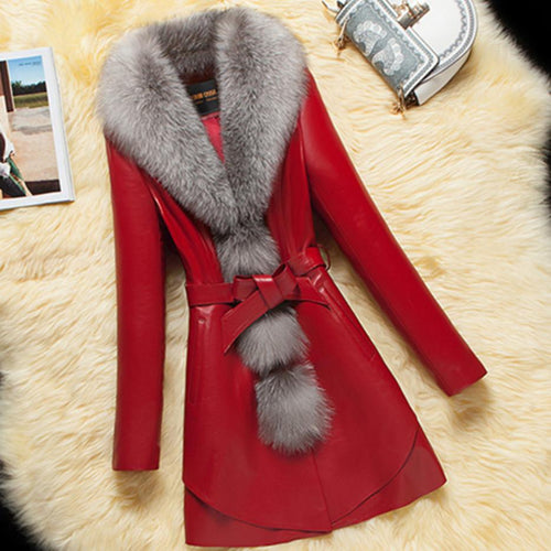 Plus size 4XL!Women Warm Leather New Winter Coats Imitation Fox Fur Collar Leather Down Cotton Coat PU Jacket Outerwear