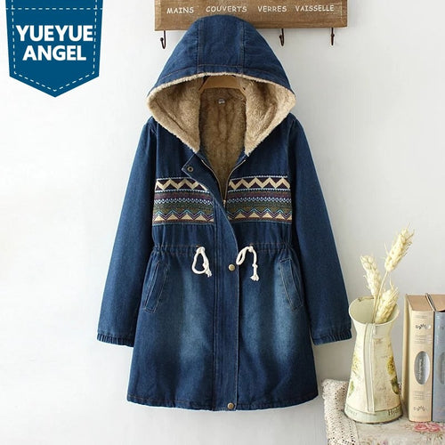 Winter Women Denim Cotton Coats Casual Print Loose Thick Warm Long Sleeve Hooded Jean Jacket Female Outwear Casaco Feminino M-XL
