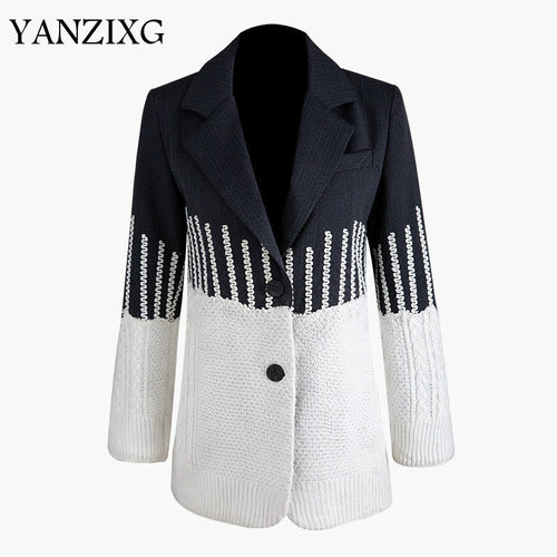 Loose Fit Contrast Color Knitting Personality Jacket New Lapel Long Sleeve Women Coat Fashion Autumn Winter 2019 Z831