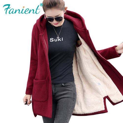 2019 Autumn Winter Women's Fleece Jacket Coats Female Long Hooded Coats Outerwear Warm Thick Female Red Slim Fit Hoodies Jackets