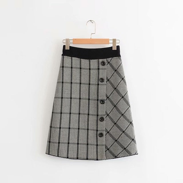 2019 Autumn New High Waist Was Thin Contrast Color Stitching Elastic Waist Elastic Plaid Single-breasted Women's Knit Skirt