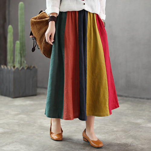 Fashion Rainbow color linen pleated skirts female college style elastic waist was thin retro hit color pleated skirts wq1783